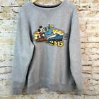 Men's DISNEY PARKS 2015 Gray Distressed Embroidery MICKEY MOUSE Crewneck Sweater