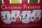 Macy's Susan Winget Chirstmas Presents Stemless Wine Glass Set 4 Santa Snowman