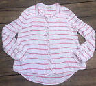 Pink Rose Womens Top Large Light Red Striped Button Up Front Long Sleeve Rayon
