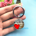 Heart Red Art Photo Tibet Silver Key Ring Glass Cabochon Keychains 235