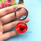 Heart Red Art Photo Tibet Silver Key Ring Glass Cabochon Keychains 234