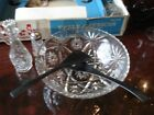 EARLY AMERICAN PRESCUT (EAPC) HOCKING CRYSTAL 9 PIECE SALAD SET (ORIGINAL BOX)