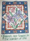 Friends Flowers Stained Glass Finished Completed Handmade Counted Cross Stitch