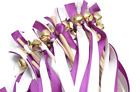 50 Wedding Ribbon Bell Wands Ultra violet  White with Bells Wedding Favors