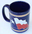 Vintage Blue w Gold Ceramic Coffee Cup Mug DALLAS Texas Gift Desk