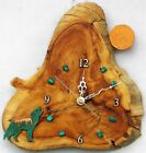 """COPPERCUTTS Wolf w/ Moon & Turquoise Stones 9.5"""" x 9.75"""" x 1.5"""" Rustic Wall Clok"""