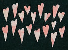 18 ANTIQUE CUTTER QUILT MINI PRIMITIVE HEARTS!! 2 TONE PINK!! Valentine's Day!