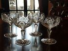 Set 4 Champagne Cocktail Coupes Vega American Cut Crystal cut rose arch 8 oz