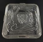 Refrigerator Dish Vintage Federal Glass Clear 8 1/2 Inch Square with Lid