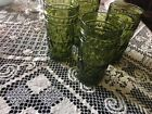 Indiana Colony Park Lane Pattern Tumbler Glasses Lot of 4 Olive Green