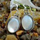 Oval Natural White Prarl Gem 925 Sterling Silver Light Weight Daily Use Earring