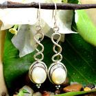 Natural Oval White Prarl Gem 925 Solid Silver Light Weight Daily Use Earring