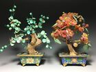 2 Chinese Cloisonne  Stone Carving Bonsai Tree Planter Pots Agate  Turquoise