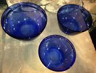 3 Anchor Hocking Nesting Bowls Cobalt Blue Mixing Bowl Set 1 Qt 1.5 Qt 2.5 Quart