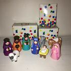 1993 AVON Kids My First Christmas Story Complete Rubber Nativity Set