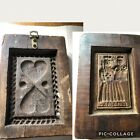 Antique Primitive 2 Sided Carved Wood Butter Mold Stamp S. Maria