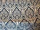 NAVY BLUE AND CREAM WOVEN COTTON DAMASK UPHOLSTERY FABRIC
