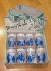Vtg Anchor Glass Set of 8 Happy Home Glasses Original Box Blue and White Design