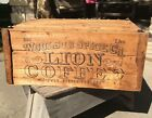 Woolson Spice Co. LION COFFEE Wooden Shipping Crate Wheels 100 lb Toledo RARE