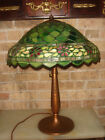 ANTIQUE SIGNED  HANDEL LAMP W /UNIQUE LEADED GLASS SHADE
