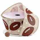 Paper Mart Floral Ribbon Fall Football Wired Edge 25in x 10yd
