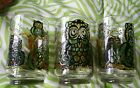 Vtg Set 3 Libbey Owl Drinking Glasses Retro Stained Glass