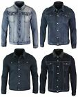 Mens Denim Jeans Jacket Short Slim Fit Classic Retro Vintage Black Blue Washed