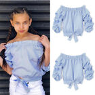 Kids Girl Clothes Off Shoulder T-Shir Tops Baby Girls Long Sleeve Tops Blouse