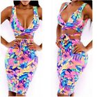 US Women 2 Piece Bodycon Two Piece Crop Top and Skirt Set Lace Up Dress Party