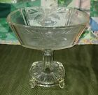 VINTAGE LARGE CLEAR GLASS PEDESTAL COMPOTE CANDY DISH 8.5