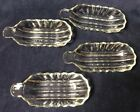 4 Vintage Clear Thick Glass Banana Boat Split Sundae Ice Cream Dishes