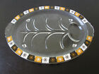 Glass Meat Serving Platter Mid Century Atomic Starburst Snowflake Pattern Oval