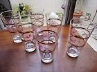 Vintage Glass Tumblers, clear w/gold and hand painted flowers, set of 6, pretty