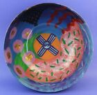 Vintage Mystery Artist Signed Bright Colorful Studio Art Glass Centerpiece Bowl