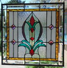 Stained Glass window hanging 21 x 21' Brass border