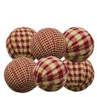 Rag Balls Set of 6 Burgundy Gingham 2.25 In. Diameter Bowl Filler Country Pri...