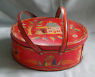 VINTAGE 1940S RED METAL LUNCH BOX LUNCH PAIL W TWO HANDLES  PEOPLE