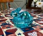 VINTAGE LE SMITH- BEAUTIFUL BLUE-BUNNY RABBIT ON A NEST-COVERED CANDY DISH