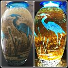 Signed Paul Bendzunas Hand Blown Studio Art Glass Vase Heron Egret Birds Marsh
