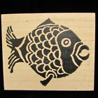 Stampa Rosa Primative Kissing Fish Rubber Stamp G 58-026 Indigo Ink 2000