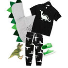 US Toddler Kid Baby Boy Short Sleeve Tops T shirt Dinosaur Pants Outfit Clothes