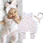US Kids Baby Infant Girl Bodysuit Cotton Romper Jumpsuit Clothes Outfit Headband