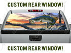 Bass Fishing Hunting Sunset Creek Wild Vinyl Decal Rear Window Truck Perforated