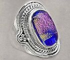 Big Dichroic Glass and Sterling Silver Ring Size 7