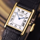 Authentic Must De Cartier Tank Argent Gold Plated Quartz Mens Wrist Watch