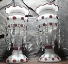VINTAGE PAIR OF MOSER GLASS HANDPAINTED LUSTERS WITH CRYSTALS 4