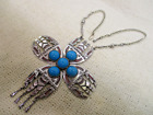 HUGE RUNWAY TRIBAL INDAIN CROSS FAUX BLUE TURQUOISE NECKLACE VTG ESTATE JEWELRY