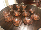 Antique Vintage French Pink Depression Glass SET Swirl Pattern mint