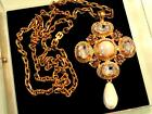 VTG GIVENCHY PARIS COUTURE HUGE 42 GLASS CRYSTAL PEARL 5 MALTESE CROSS SAUTOIR