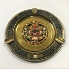 antique copper hand made Mexican vintage decorated colored ashtray free shipping